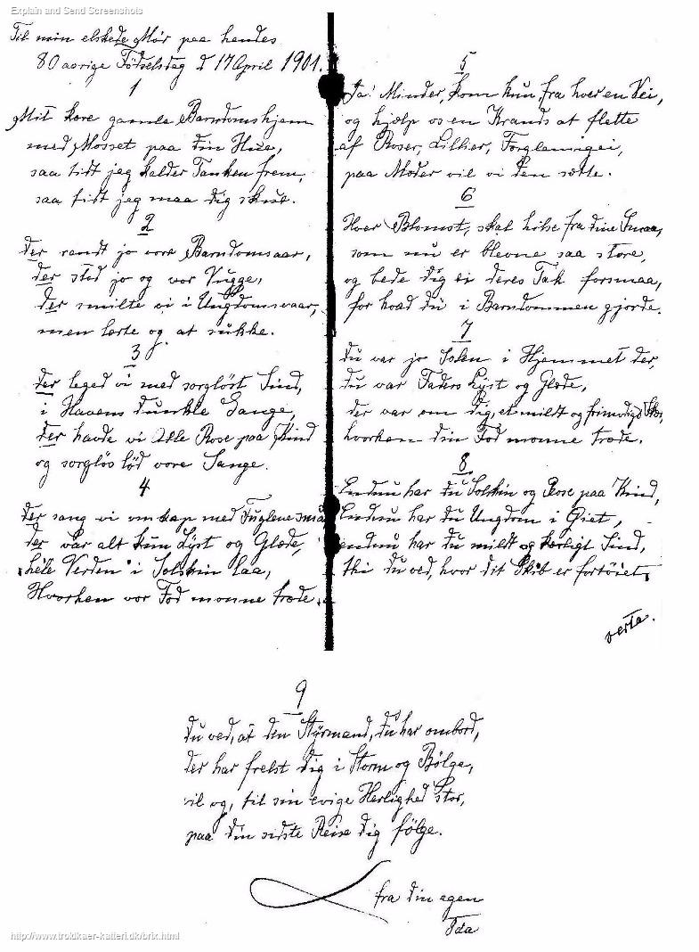 """""""Til min elskede Mor på hendes 80årige fødselsdag d. 17. april 1901"""" som gengives her med Ida Brix' håndskrift:"""