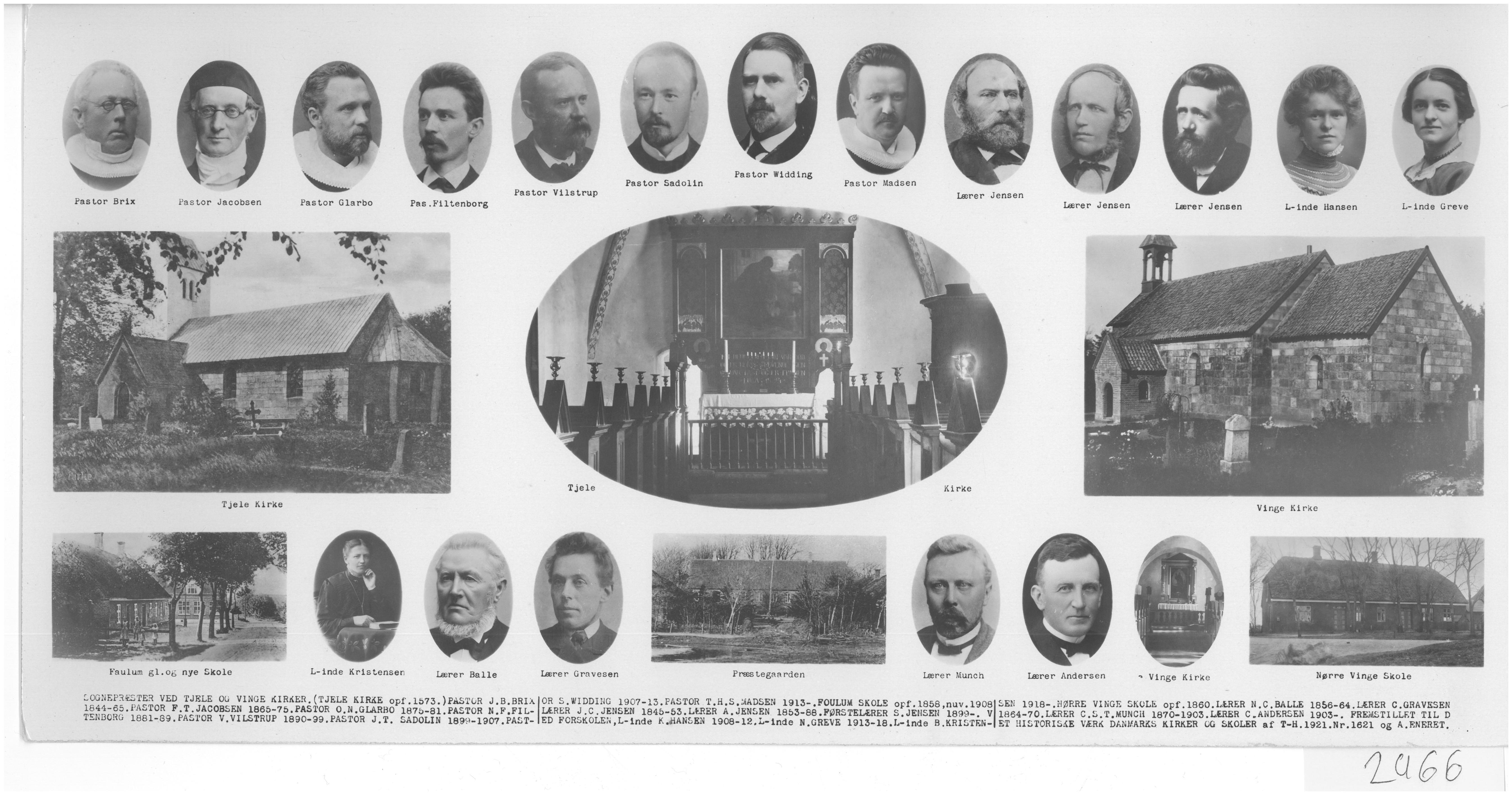 Præster og Lærer - Tjele sogn 1920