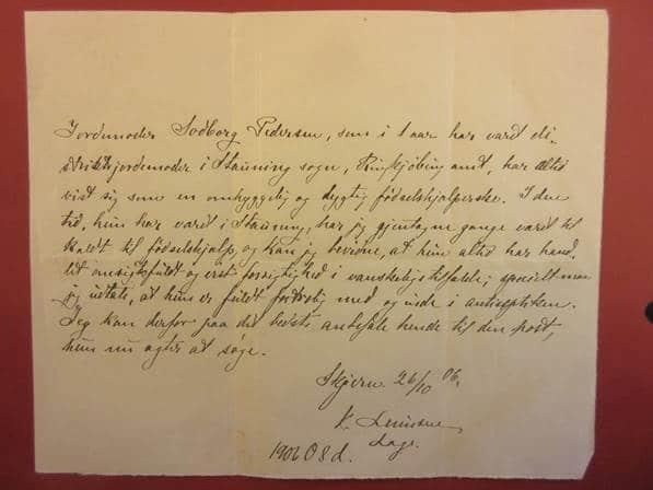 Den flotte anbefaling, fru Sodborg fik fra sin læge i Ringkøbing amt, da hun søgte nyt embede i Kibæk
